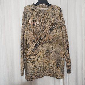 Mossy Oak Camo Pullover T Shirt Long Sleeve Hunting T-shirt Front Pocket 2XL